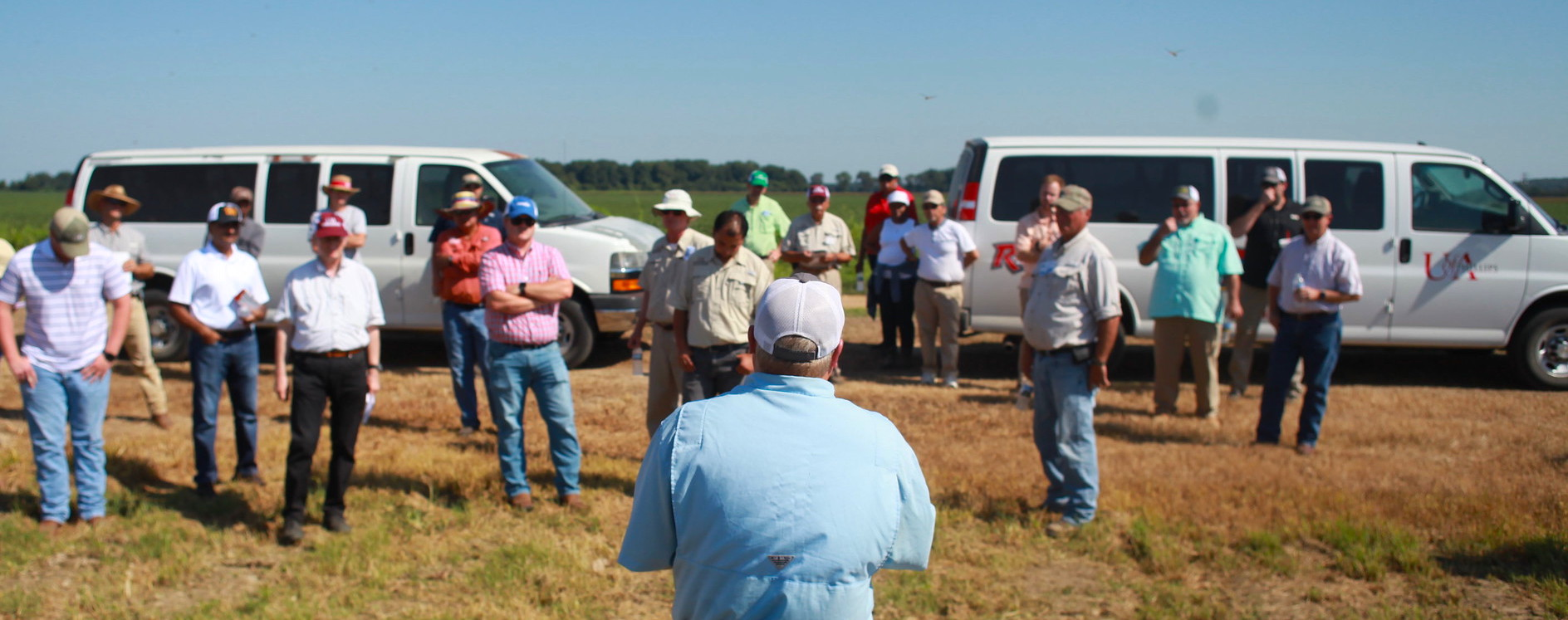 In-person field day event. A researcher stands in front of a group of attendees with his back to the camera.