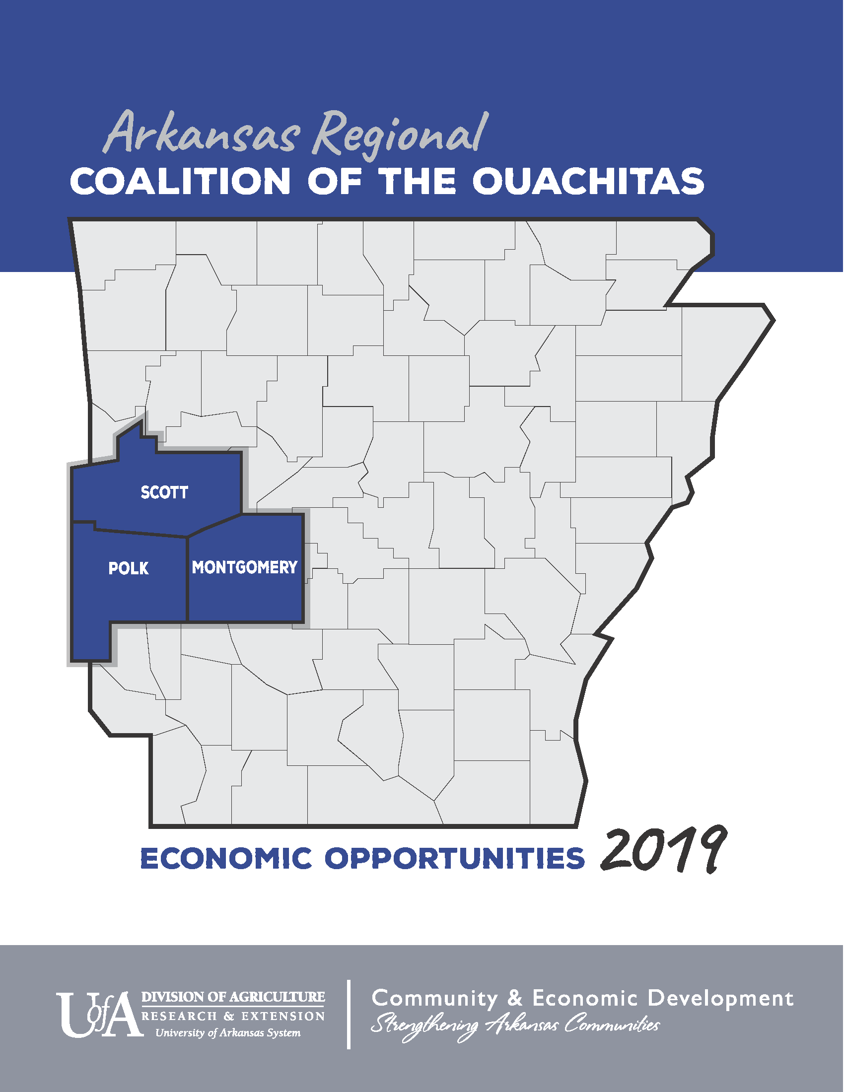 "An image of the cover for the publication ""ARCO Regional Opportunities 2019"".  The cover art is a map of the state of Arkansas with Scott, Polk and Montgomery couties highlighted."