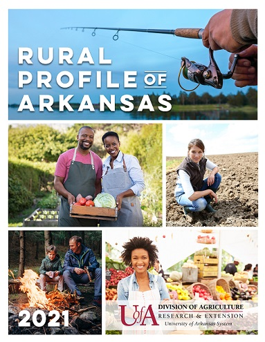 Picture of the Rural Profile of Arkansas cover art.  Includes pictures of a hand holding grain, a woman standing with her arms crossed in front of a farmers market, a man working with a length of wood at a sawmill, and a couple sitting front of a tent at a campsite.