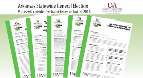 Five fact sheets, in fanned out pattern, with information about ballot issues that will appear on 2014 Arkansas general election ballot