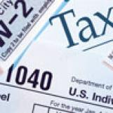 Collage of income tax-related forms