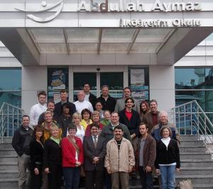 Members of LeadAR class 14 take a moment for a group shot at the Abdullah Aymaz Elementary School in Konya during their international learning trip to Turkey. (University of Arkansas Division of Agriculture photo)