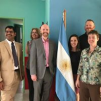 LeadAR group in front of Argentina flag