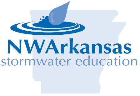 Darker blue colored NW Arkansas storm water project logo, which is a large raindrop landing in a pool of water, imposed over a background of the State of Arkansas in a lighter blue.