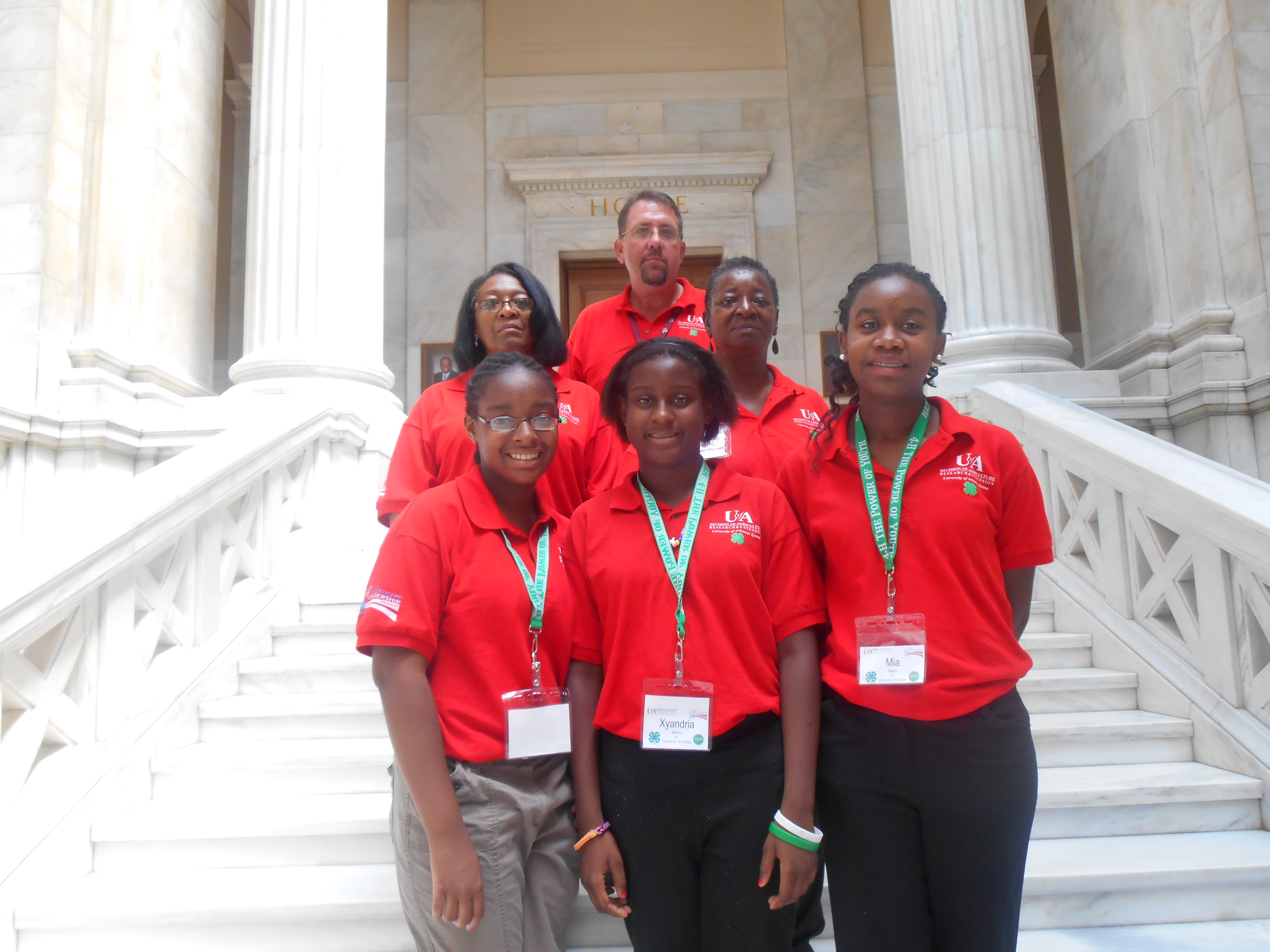 Group picture showing Chicot County 4-H Citizenship and Leadership Camp participants standing on the capitol steps.