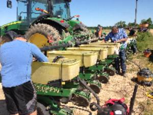 Picture of planting Clay County soybean variety plot