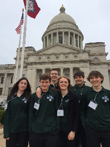 4-H youth 2 girls and 4 boys visiting the Arkansas Capitol for 4-H Day at the Capitol
