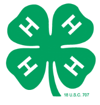4-H Clover, Green clover with 4 leaves each having 1 white capital H