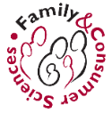 Drawn outline of family in red and black ink (single straight and curved lines depict the upper body and heads of 6 people various sizes/ages) encircled by the words Family & Consumer Sciences in red and black ink
