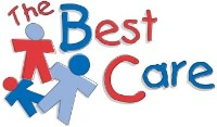 The Best Care written in Red and Blue printed letters, Drawing of 3 stick people colored in red and blues