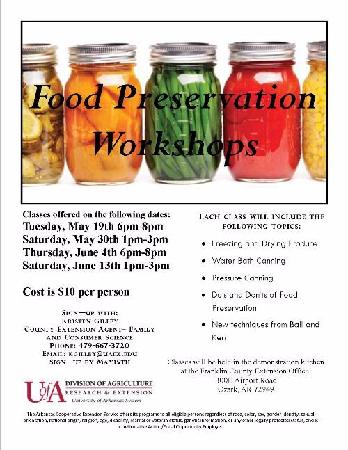 Food Preservation Workshops Dates and Times Flyer with Canned Vegetables across the top