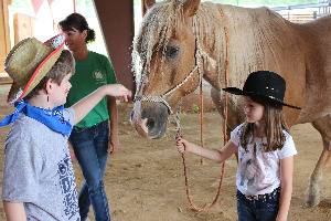 Children petting a horse