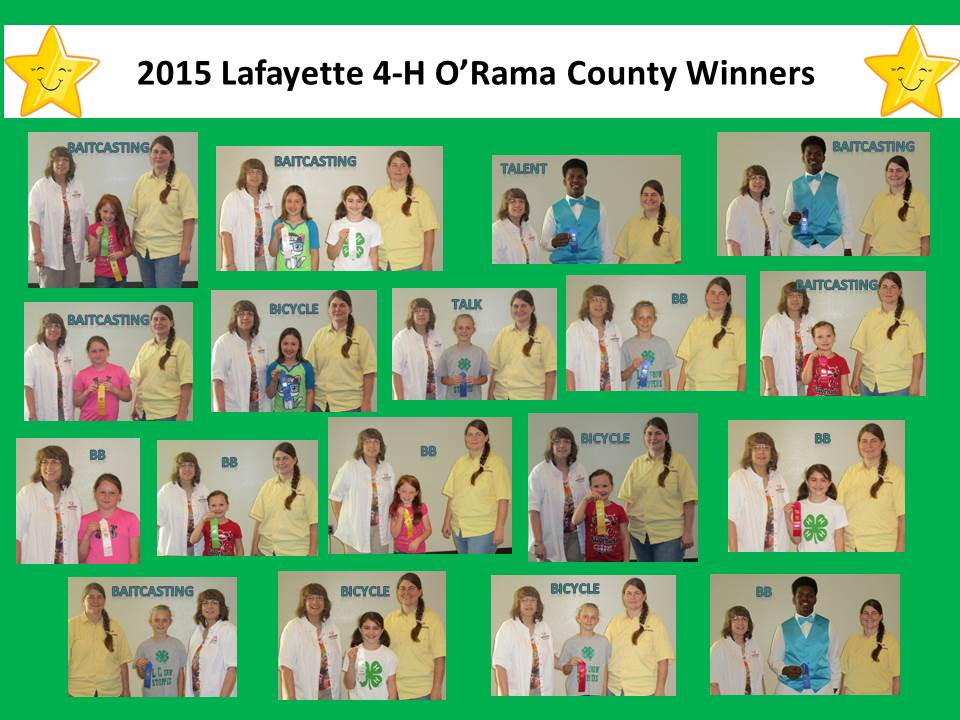 collage of photos of all the 2015 Lafayette 4-H O'Rama county winners with their ribbons and categories