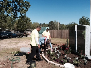 Master gardeners training during a county project