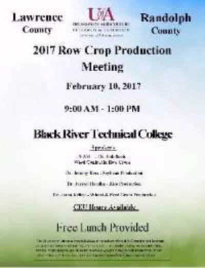 Flyer announcing the Lawrence and Randolph Counties Row Crop Production meeting for Friday February 10th