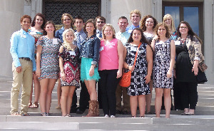 RJYL Group standing on the steps th the State Capitol in Little Rock