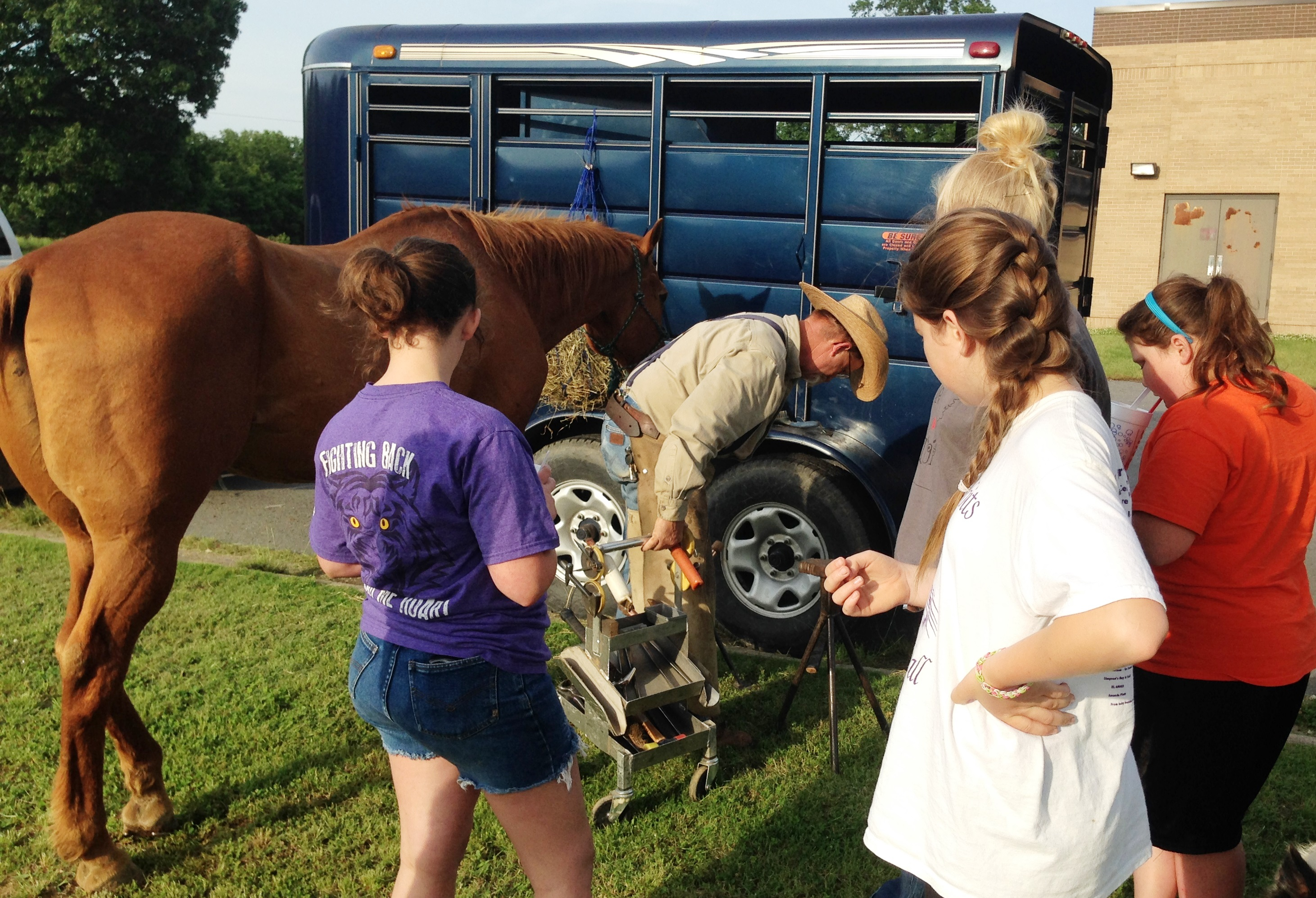Vet Science participants watching farrier