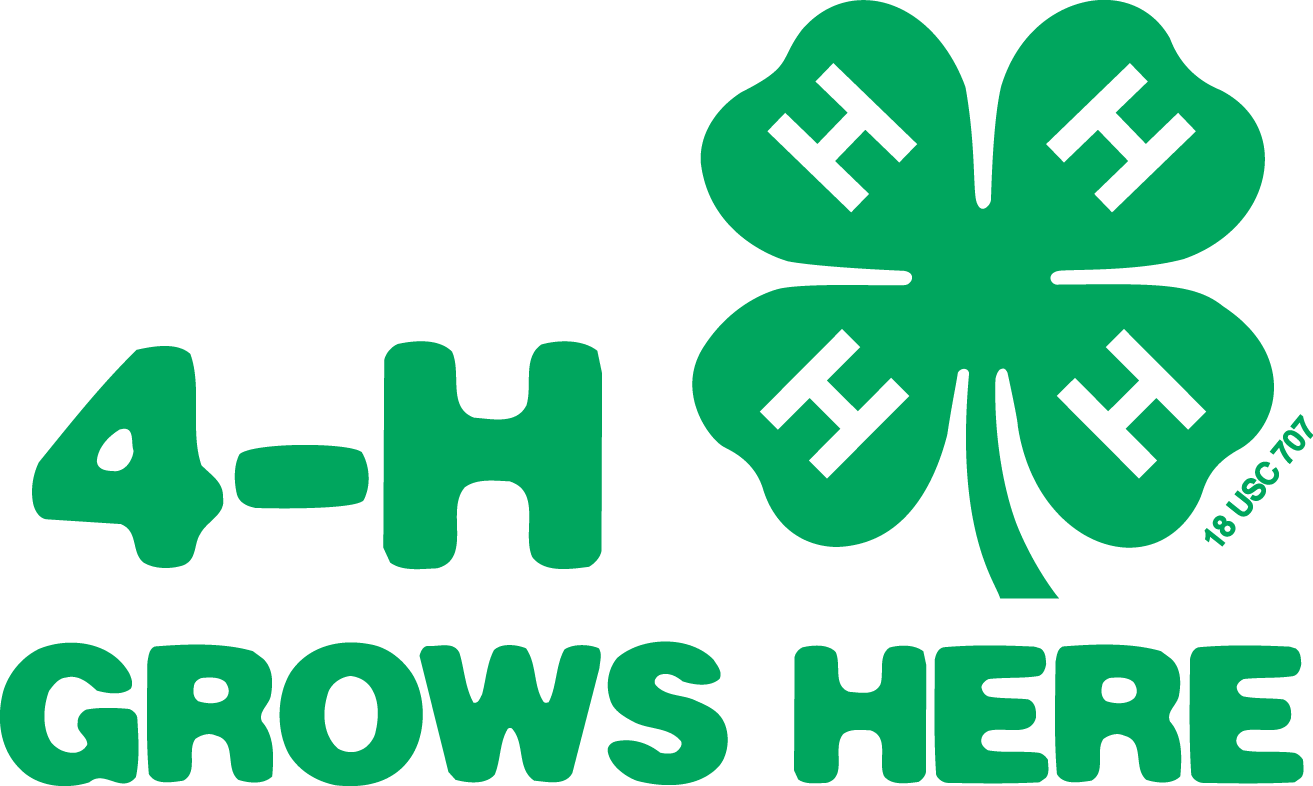 Image that states: 4-H Grows Here with an image of green 4 leaf clover