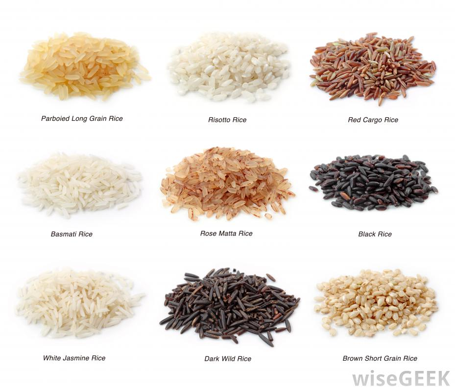 list of various bowls of rice with the types listed