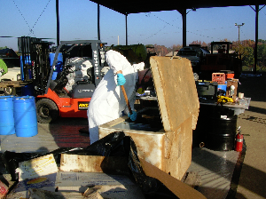 Worker Disposing of Chemicals