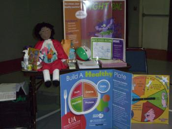 Demonstration doll & display boards with health & nutrition information