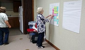 Woman placing sticky notes onto a flip chart