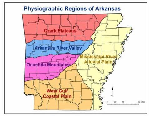 photo of physiographic regions of Arkansas