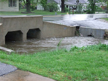 Stormwater flowing into culvert