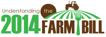 2014 Farm Bill logo - green and brown image with text