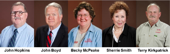 Pictures of John Hopkins, John Boyd, Becky McPeake, and Sherrie Smith