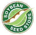 Green and white soybean science store logo