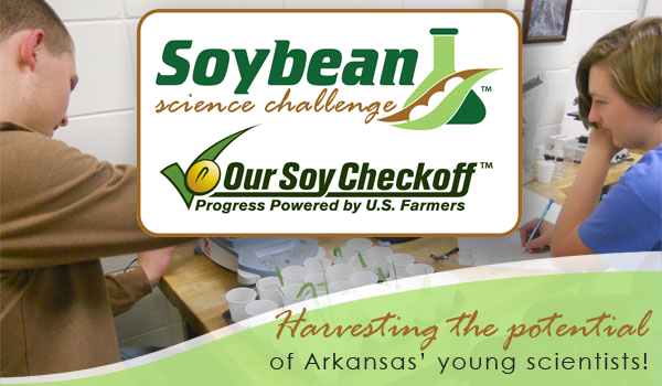Arkansas Soybean Science challenge logo and photo of students