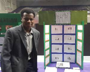 Evan Buckner with project at Arkansas State Science Fair
