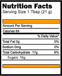 Nutrition label listing various percentage facts about 1 tablespoon of honey.