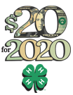 $20 for 2020 letters, 4H clover logo underneath