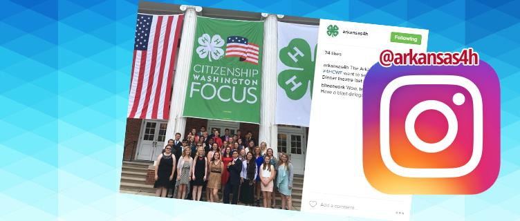 Social Media icons and 4-H banners and flags