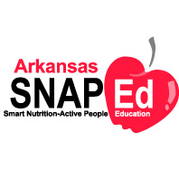 Stacked text reading Arkansas, then SNAP-Ed, then Smart Nutrition – Active People Education with red apple behind right-side of text