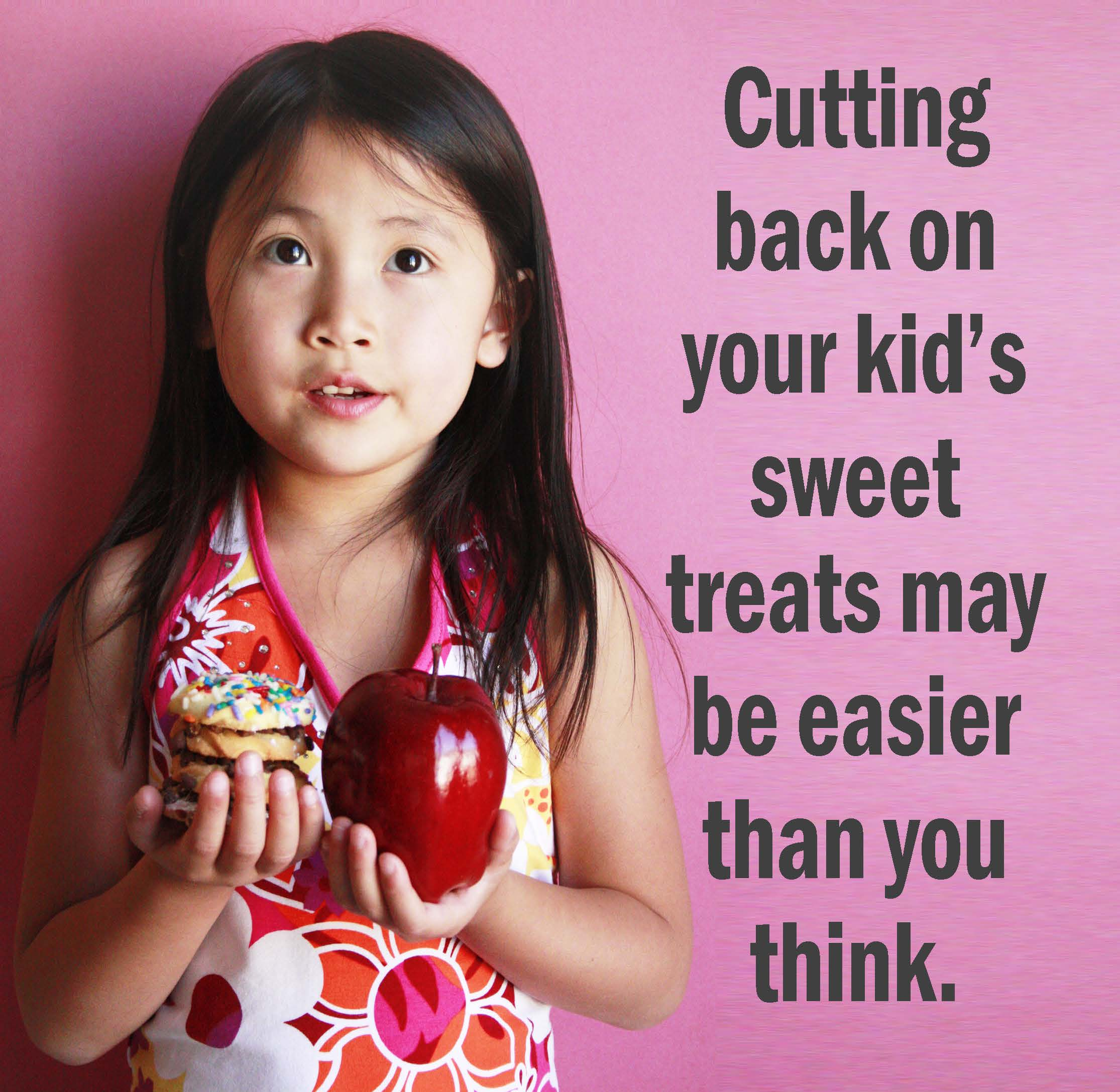 Cover photo of Ways to Reduce Sugar pdf. Young girl chooses between a stack of cookies in her left hand and an apple in her right.