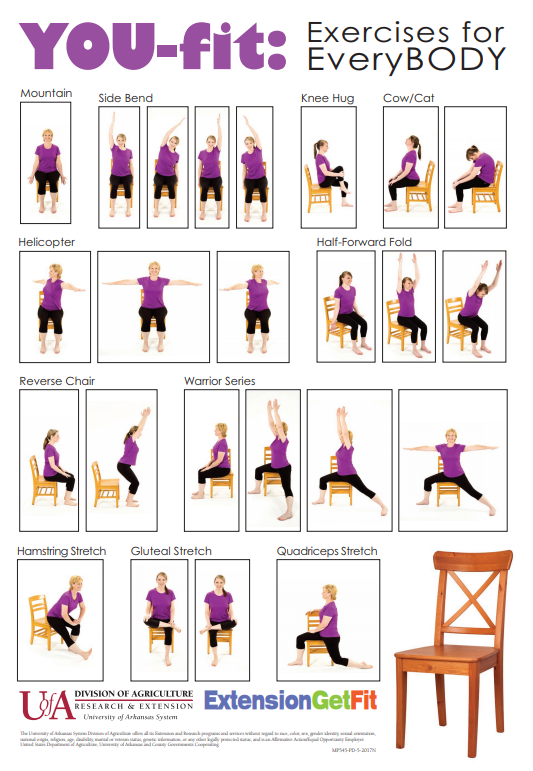 You fit chair yoga poster with several exercises depicted. No text other than a logo.