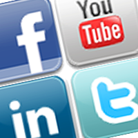 Graphics with Facebook, YouTube, LinkedIn and Twitter icons