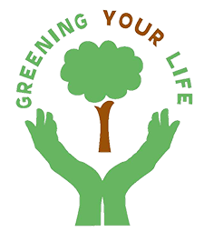 Greening Your Life Logo - Hands holding a tree
