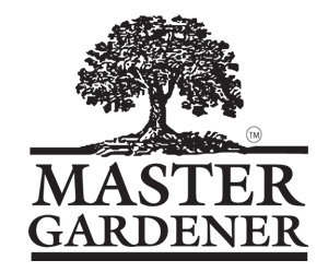 Master Gardener in all capital letters beneath a hardwood tree with leaves and roots