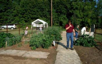 Stone path with garden planted on each side and enclosed with fence has 2 adult women and 1 adult male working in it.